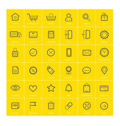 ecommerce icons on yellow background vector image