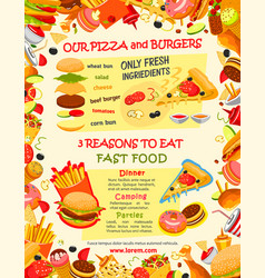 Fast food burger and pizza menu template vector