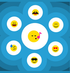 Flat icon emoji set of cheerful descant tears vector