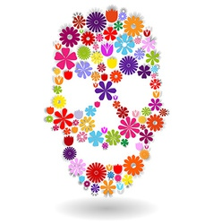 Flower skull in colors over white vector