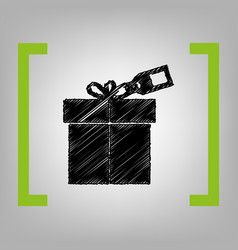Gift sign with tag black scribble icon in vector