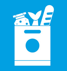 Grocery bag with food icon white vector