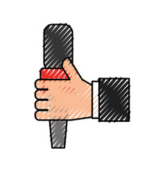 Hand human with microphone communication device vector