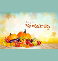 Happy thanksgiving background with colorful fruit vector