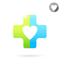 Heart icon on medical cross vector
