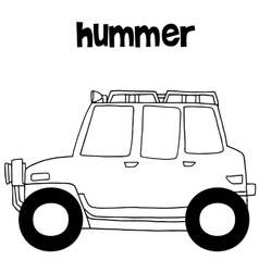 Hummer with hand draw transportation vector