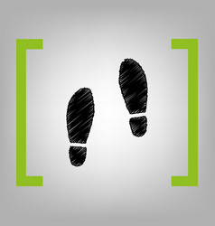 Imprint soles shoes sign black scribble vector