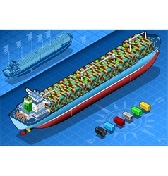 Isometric Cargo Ship with Containers Isolated in vector image vector image