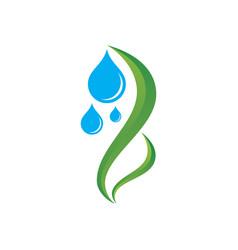 leaf waterdrop 3d eco logo vector image vector image