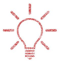 Light bulb fabric textured icon vector