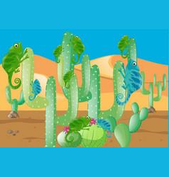 Lizards and cactus in the desert vector