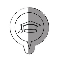 Monochrome contour sticker with graduation hat vector