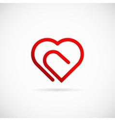 Paperclip heart concept symbol icon or logo vector