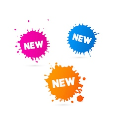 Pink orange and blue stickers - stains with new vector