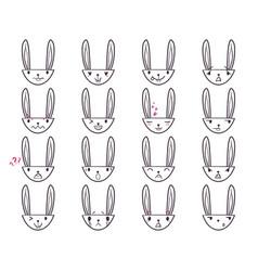 Rabbit handdrawn emoticons 3 vector