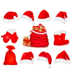 Red santa hats vector