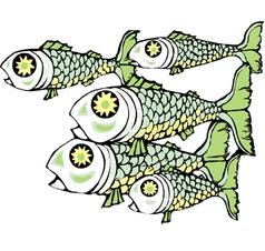 School of fish horizontal vector