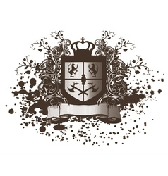 shield with scroll vector image vector image