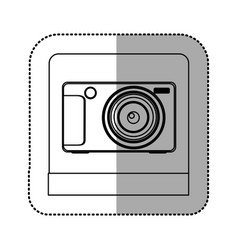 Silhouette digital professional camera icon vector