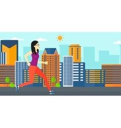 Sportive woman jogging vector image vector image