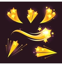 Stars burst cartoon elements on dark vector image vector image