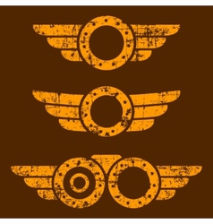 Steam punk emblem set vector image