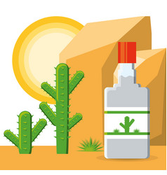 tequila bottle mexican traditional drink vector image
