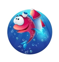 Underwater cartoon funny fish with rocket vector image vector image