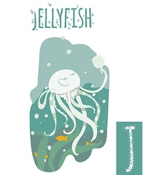 Vertical of jellyfish with colorful background vector