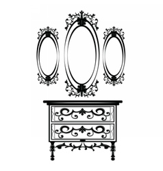 Vintage baroque imperial dressing table and mirror vector