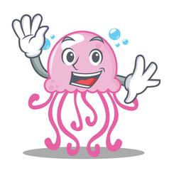 waving cute jellyfish character cartoon vector image