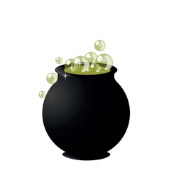 Witchs cauldron on pot on halloween on white backg vector
