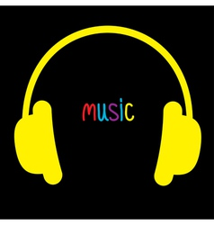 Yellow headphones and colorful word music card vector