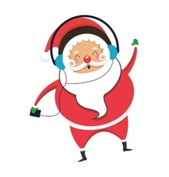 santa claus listening to music icon vector image