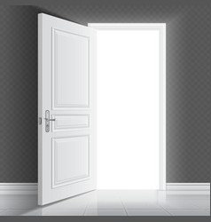 Open white entrance door business success vector