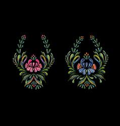 hand drawn vintage floral ornament on black vector image