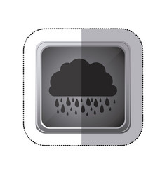sticker gray square button with silhouette cloud vector image