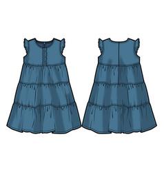 Colored tech sketch of a summer dress vector