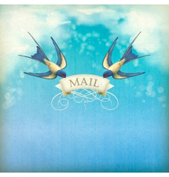 Swallows mail vintage postcard vector
