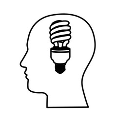 Black contour human face with fluorescent bulb in vector