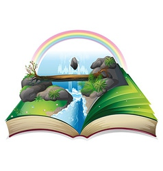 Waterfall book vector