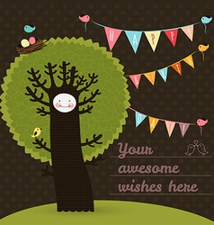 Cute happy birthday card with tree and birds vector