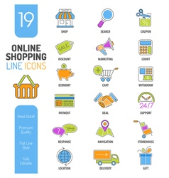 Online shopping thin lines color web icon set vector