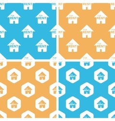 Rental house pattern set colored vector