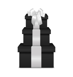 Stack of three realistic black gift boxes with vector