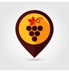 Grapes flat mapping pin icon vector