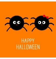 Spider insect family couple boy girl halloween vector