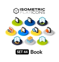 Isometric flat icons set 44 vector