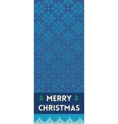 Merry christmas banner with snowflakes in knitted vector