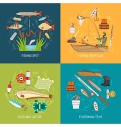 Fishing Concept Icons Set vector image
